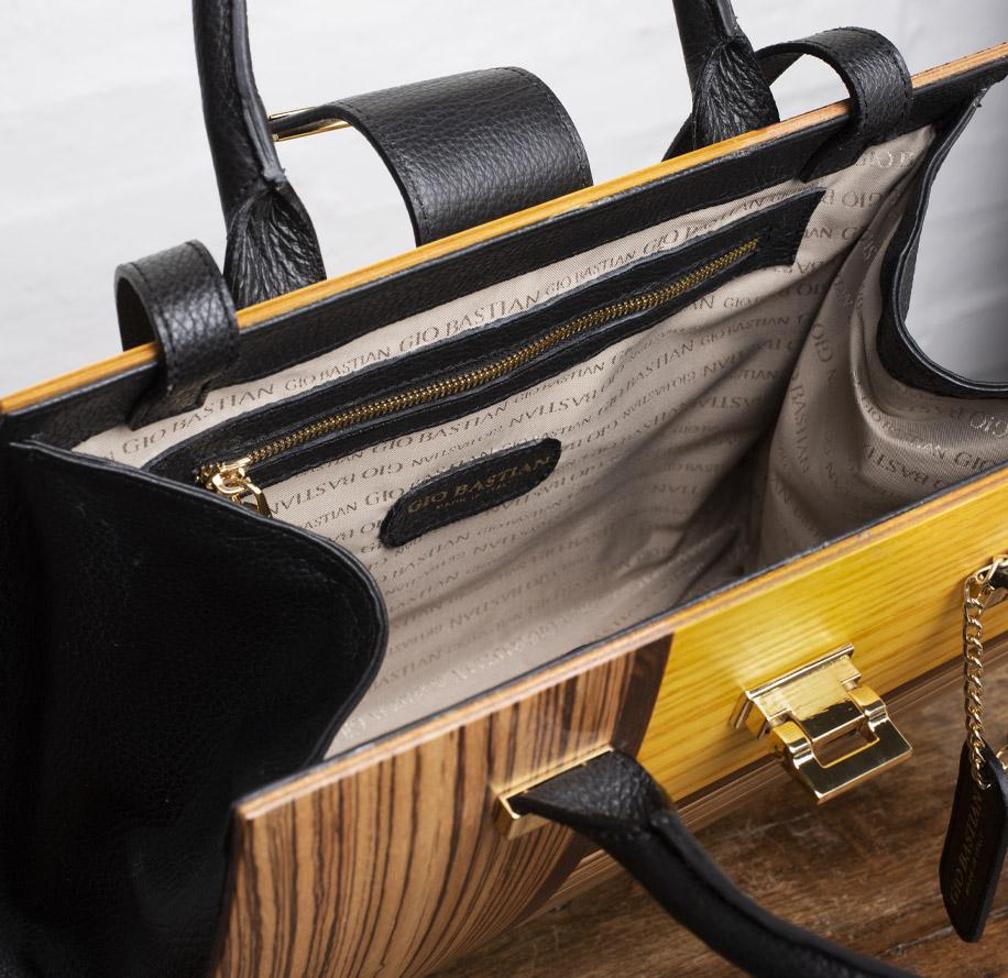 borsa in legno tinto Giallo