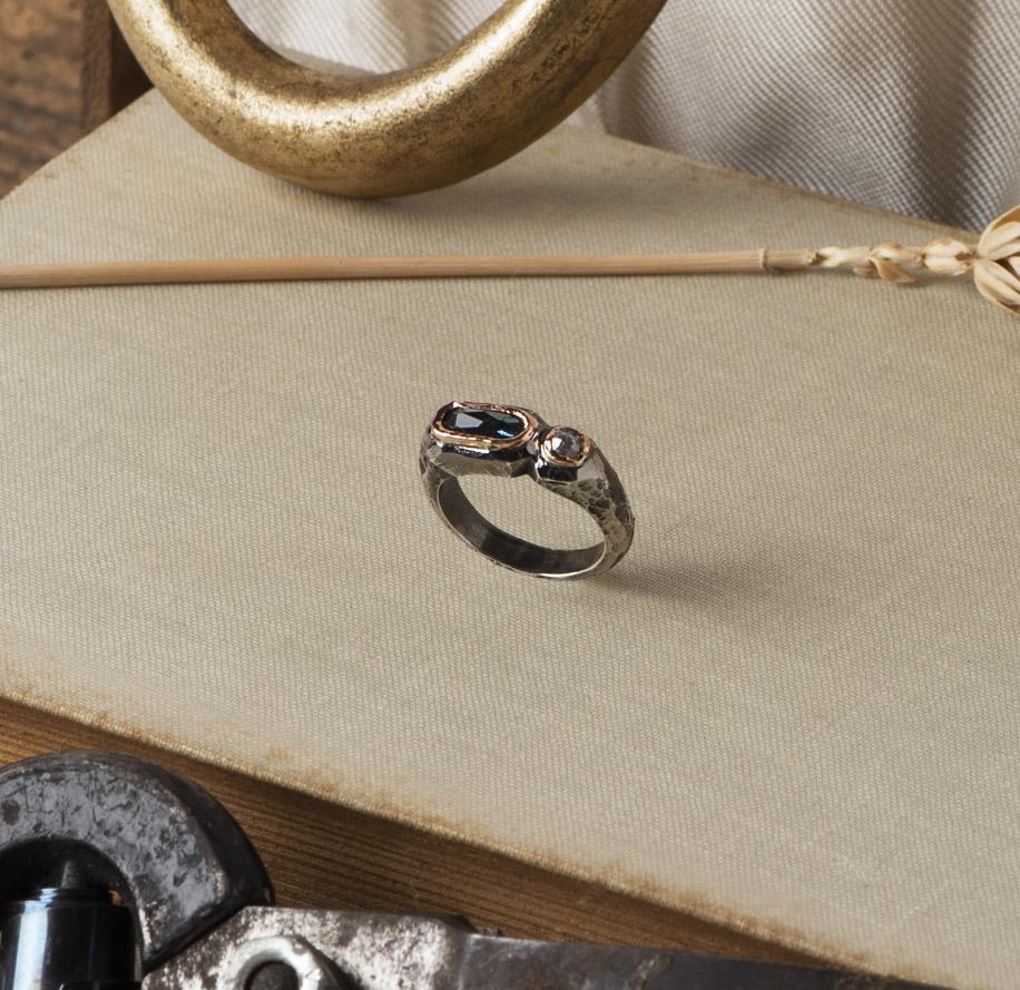 New Art_Anello in argento e oro con tormalina e diamante_g1
