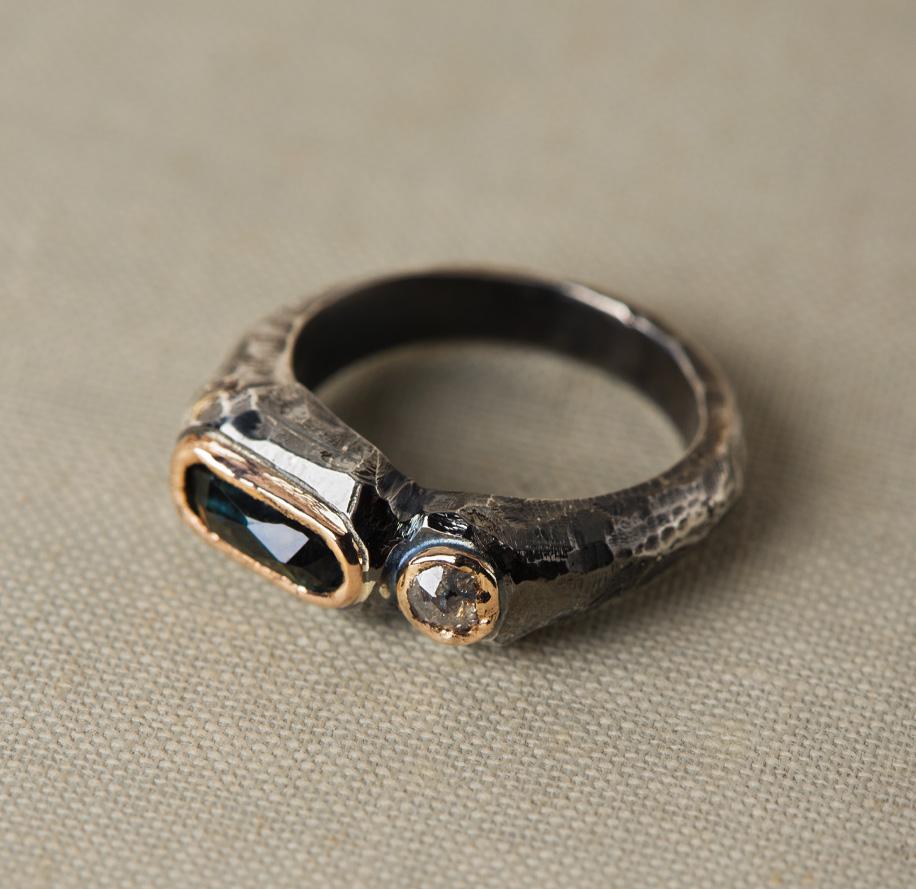 New Art_Anello in argento e oro con tormalina e diamante_g2