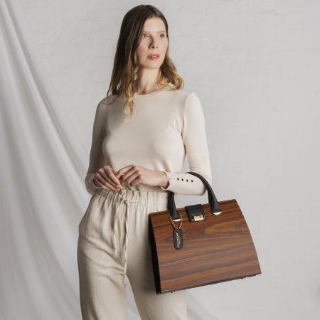 borsa linda legno pelle nera