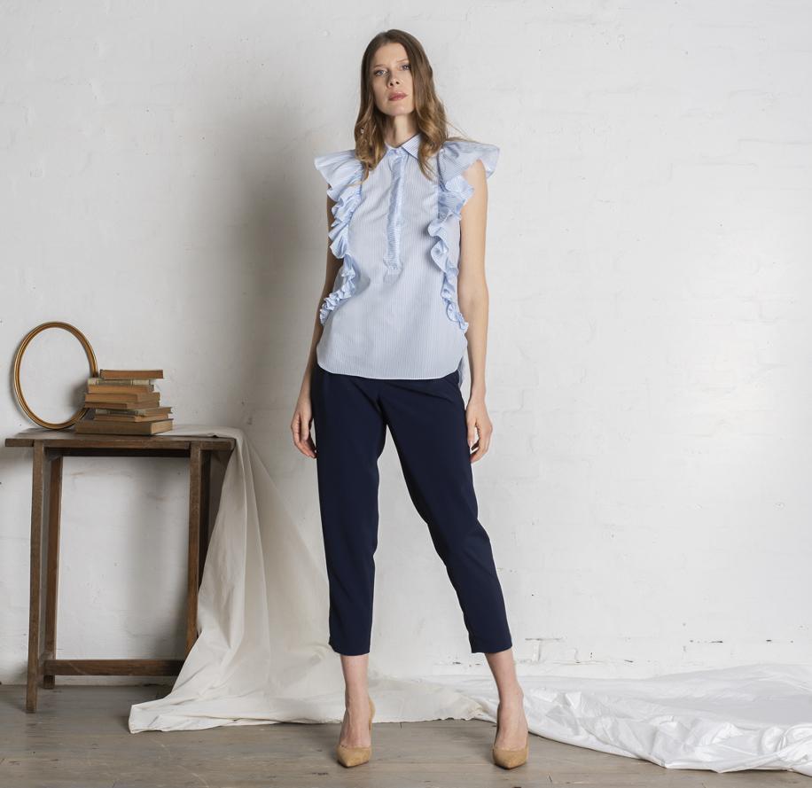 Atelier Meni_Camicia di cotone a righe bianche e azzurre_g1