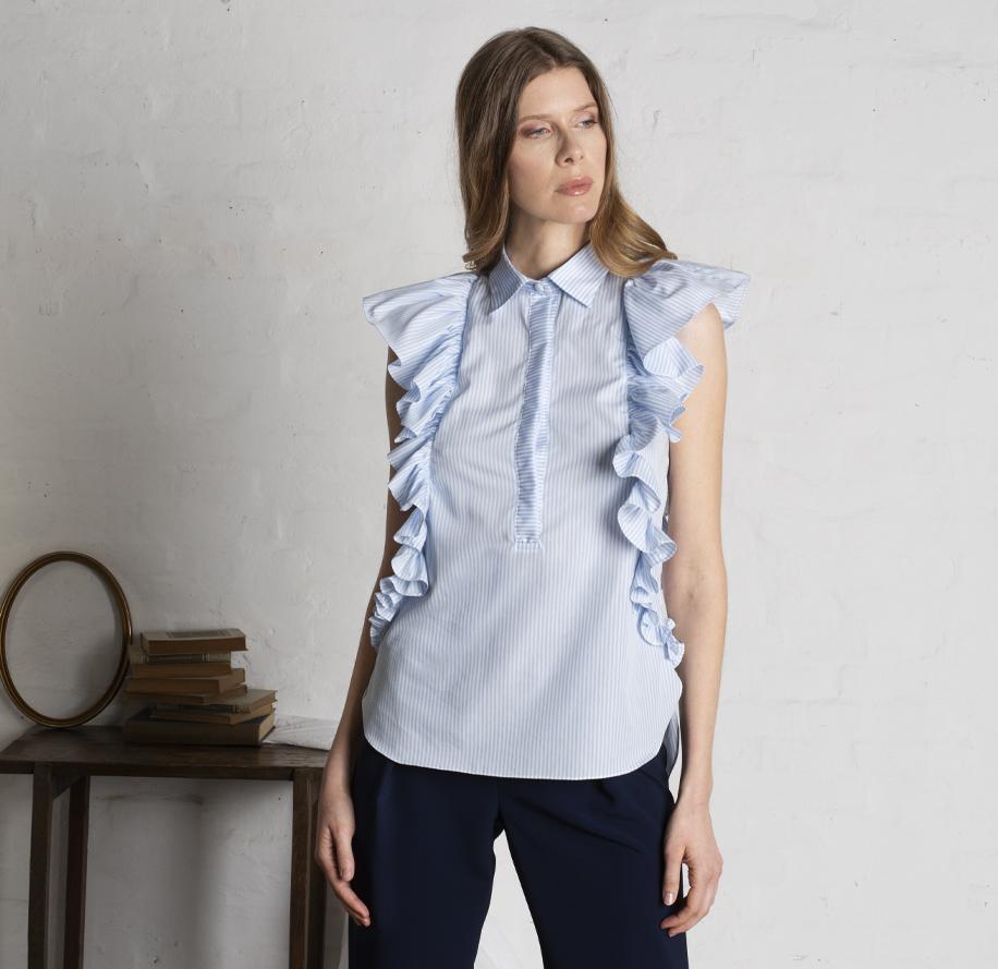 Atelier Meni_Camicia di cotone a righe bianche e azzurre_g2