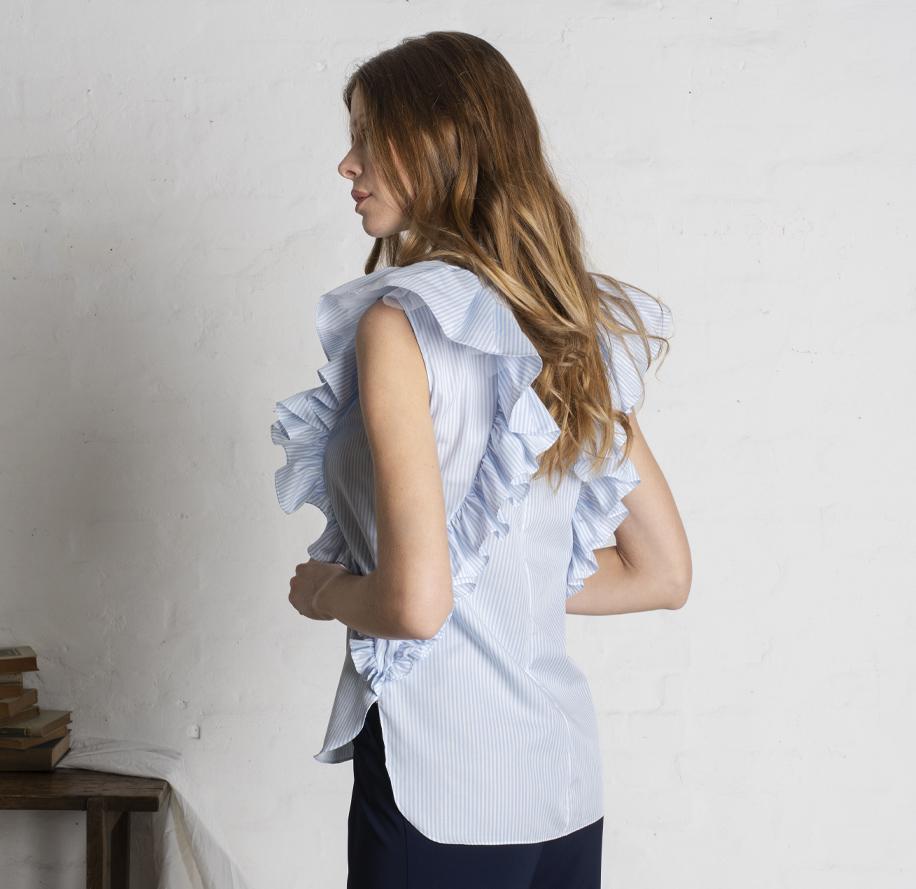 Atelier Meni_Camicia di cotone a righe bianche e azzurre_g3