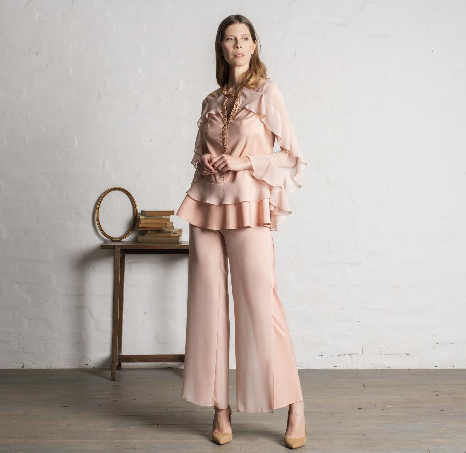 Atelier Meni_Completo pantalone in crêpe e georgette color rosa cipria_g1