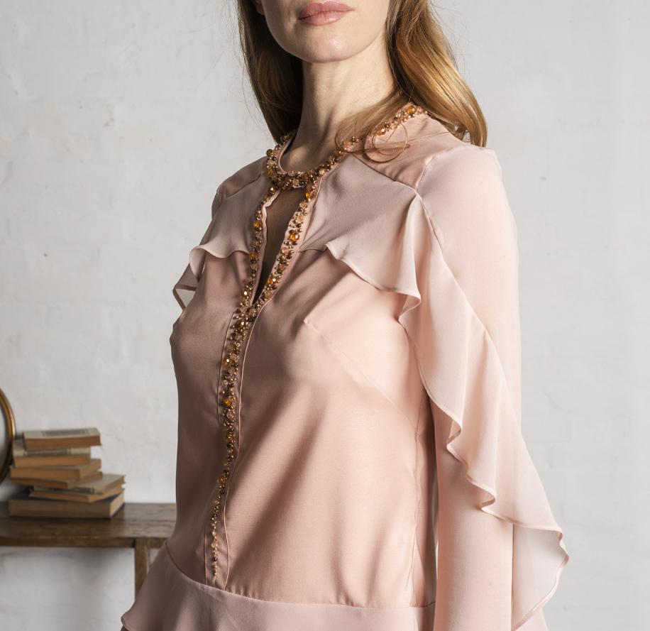 Atelier Meni_Completo pantalone in crêpe e georgette color rosa cipria_g2