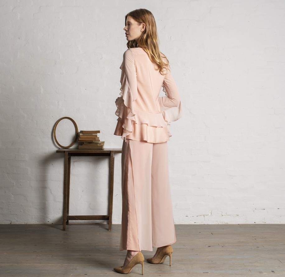 Atelier Meni_Completo pantalone in crêpe e georgette color rosa cipria_g3