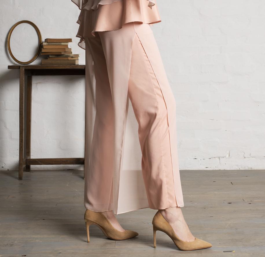 Atelier Meni_Completo pantalone in crêpe e georgette color rosa cipria_g4